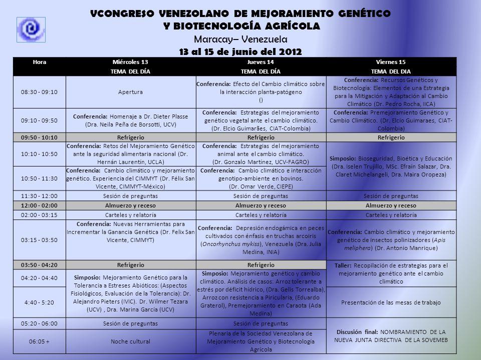13 al 15 de junio de 2012 Auditórium de Economía, Facultad de Agronomía, Universidad Central de Venezuela.