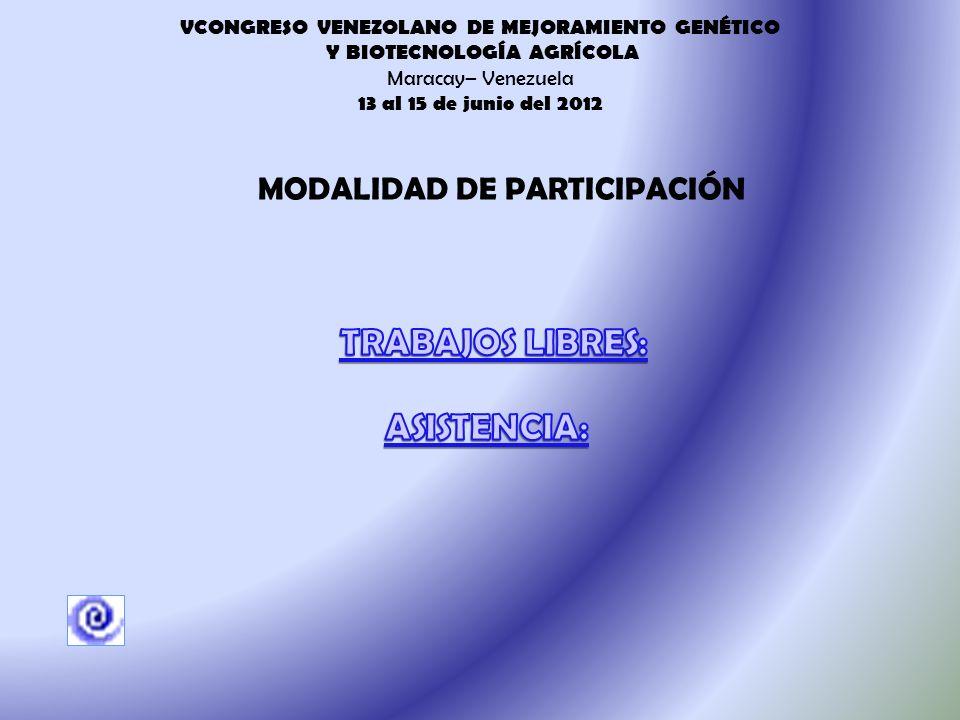 VCONGRESO VENEZOLANO DE MEJORAMIENTO GENÉTICO Y BIOTECNOLOGÍA AGRÍCOLA Maracay– Venezuela 13 al 15 de junio del 2012 HoraMiércoles 13Jueves 14Viernes 15 TEMA DEL DÍA TEMA DEL DIA 08:30 - 09:10Apertura Conferencia: Efecto del Cambio climático sobre la interacción planta-patógeno () Conferencia: Recursos Genéticos y Biotecnología: Elementos de una Estrategia para la Mitigación y Adaptación al Cambio Climático (Dr.