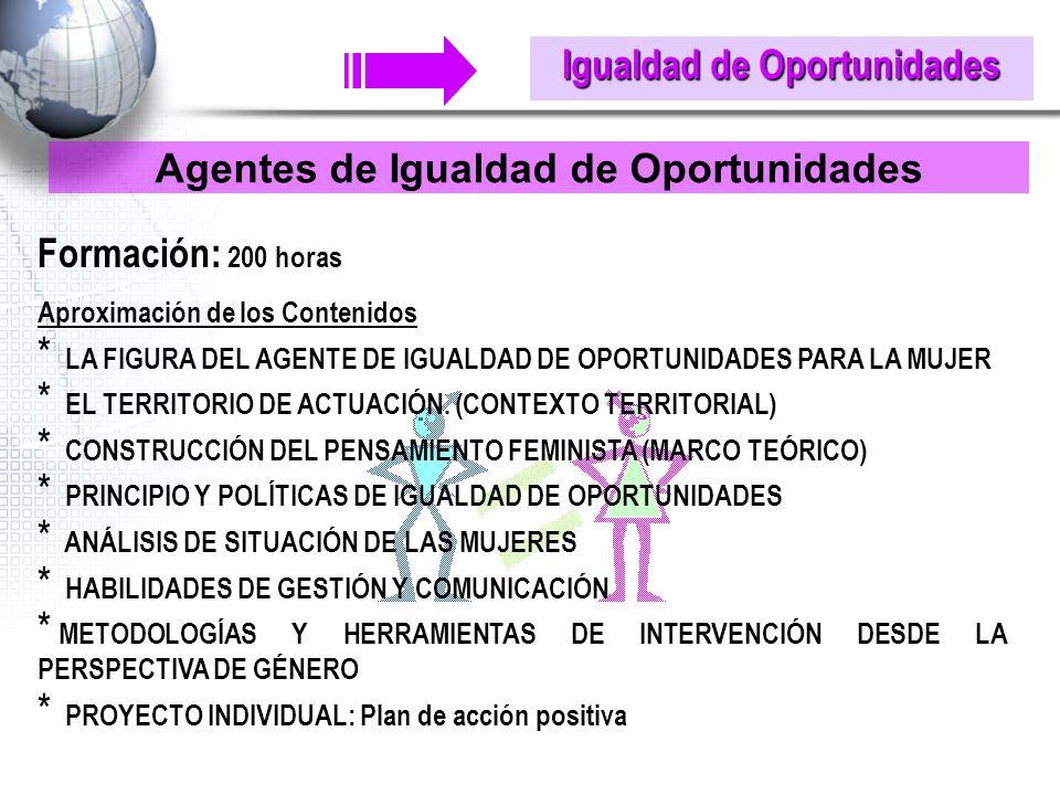 Igualdad de Oportunidades Agentes de Igualdad de Oportunidades Formación: 200 horas Aproximación de los Contenidos * LA FIGURA DEL AGENTE DE IGUALDAD DE OPORTUNIDADES PARA LA MUJER * EL TERRITORIO DE ACTUACIÓN.