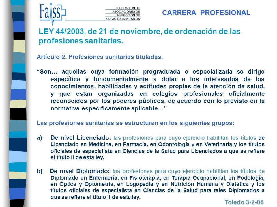 CARRERA PROFESIONAL Toledo 3-2-06 LEY 44/2003, de 21 de noviembre, de ordenación de las profesiones sanitarias. Artículo 2. Profesiones sanitarias tit