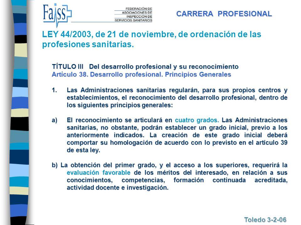 CARRERA PROFESIONAL Toledo 3-2-06 TÍTULO III Del desarrollo profesional y su reconocimiento Artículo 38. Desarrollo profesional. Principios Generales