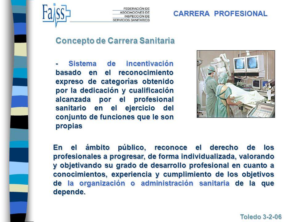 CARRERA PROFESIONAL Toledo 3-2-06 Concepto de Carrera Sanitaria - Sistema de incentivación basado en el reconocimiento expreso de categorías obtenido