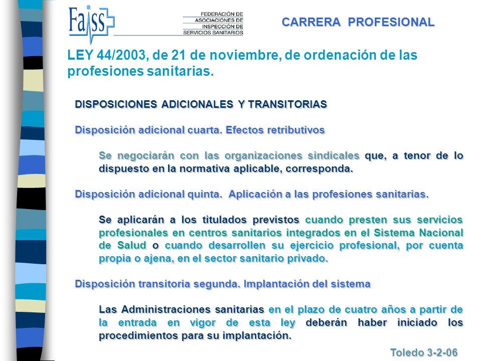 CARRERA PROFESIONAL Toledo 3-2-06 DISPOSICIONES ADICIONALES Y TRANSITORIAS Disposición adicional cuarta. Efectos retributivos Se negociarán con las or