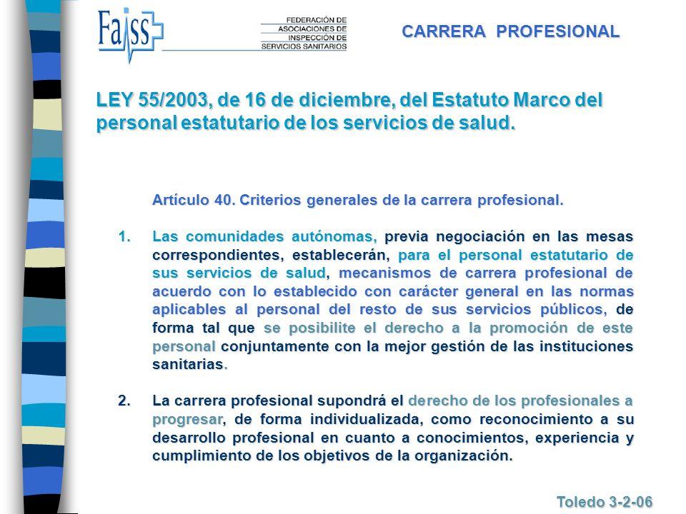 CARRERA PROFESIONAL Toledo 3-2-06 Artículo 40. Criterios generales de la carrera profesional. 1.Las 1.Las comunidades autónomas, autónomas, previa neg