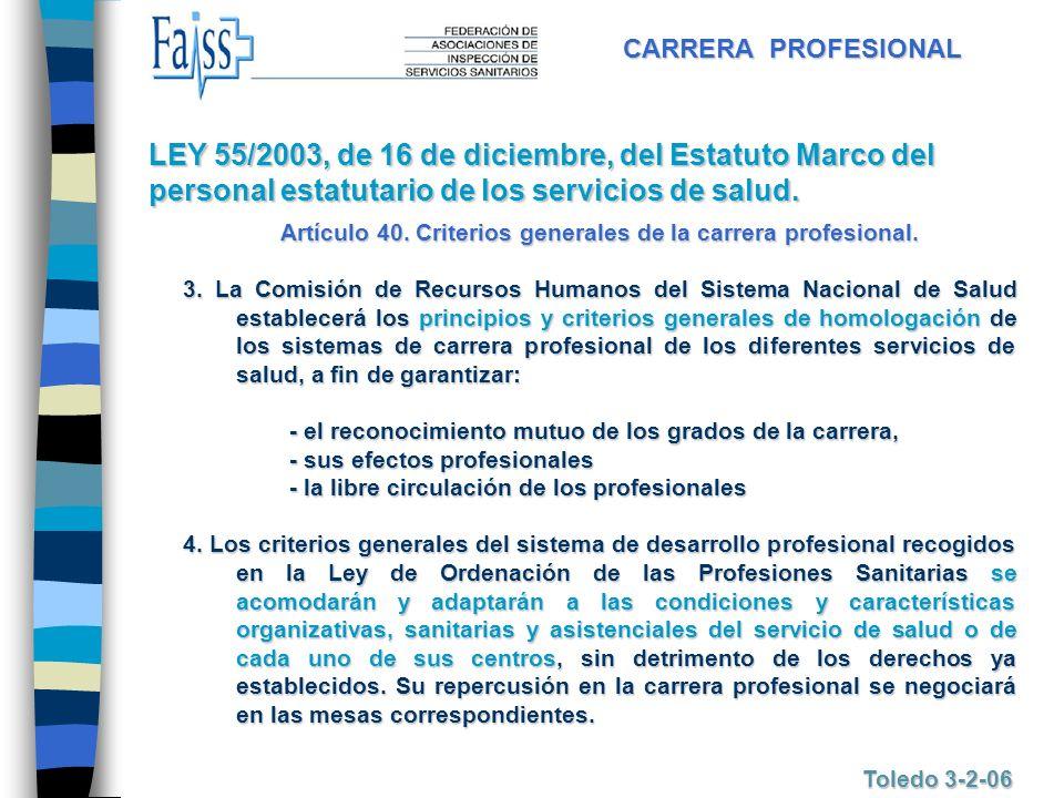 CARRERA PROFESIONAL Toledo 3-2-06 Artículo 40. Criterios generales de la carrera profesional. 3. La Comisión de Recursos Humanos del Sistema Nacional