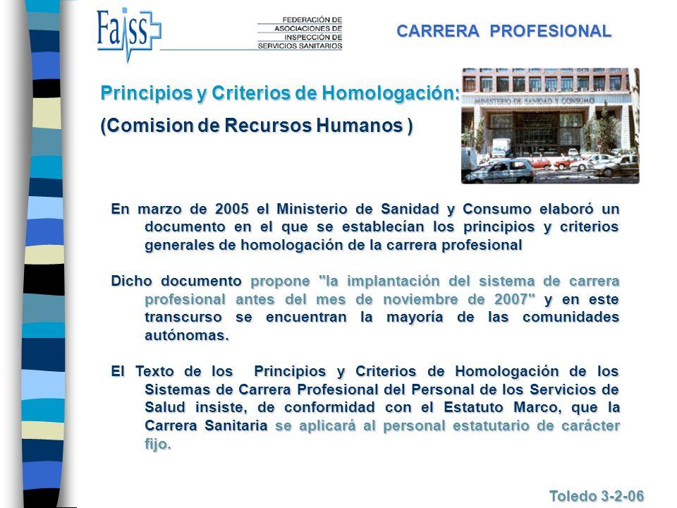 CARRERA PROFESIONAL Toledo 3-2-06 En marzo de 2005 el Ministerio de Sanidad y Consumo elaboró un documento en el que se establecían los principios y c