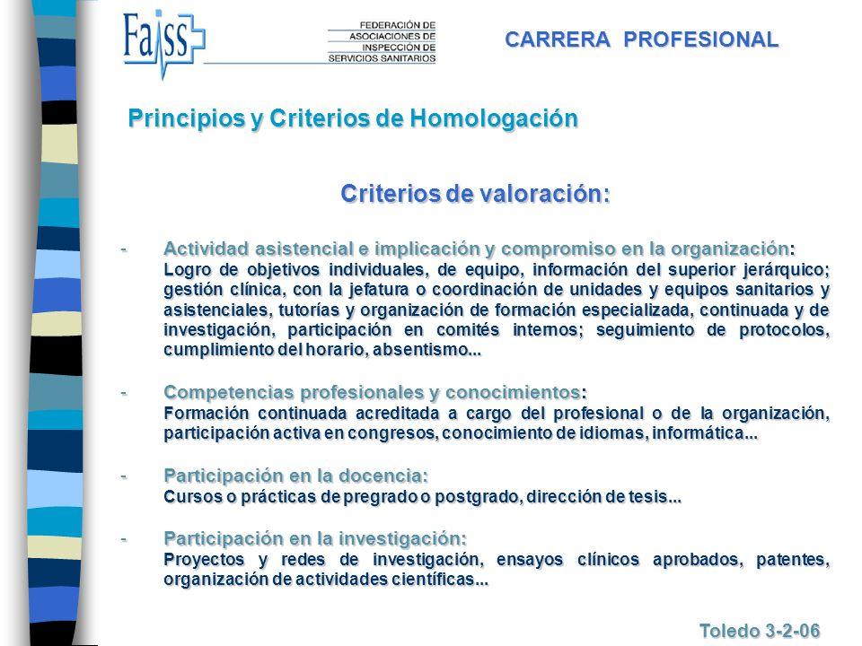 CARRERA PROFESIONAL Toledo 3-2-06 Criterios de valoración: -Actividad -Actividad asistencial e implicación y compromiso en la organización: Logro de o