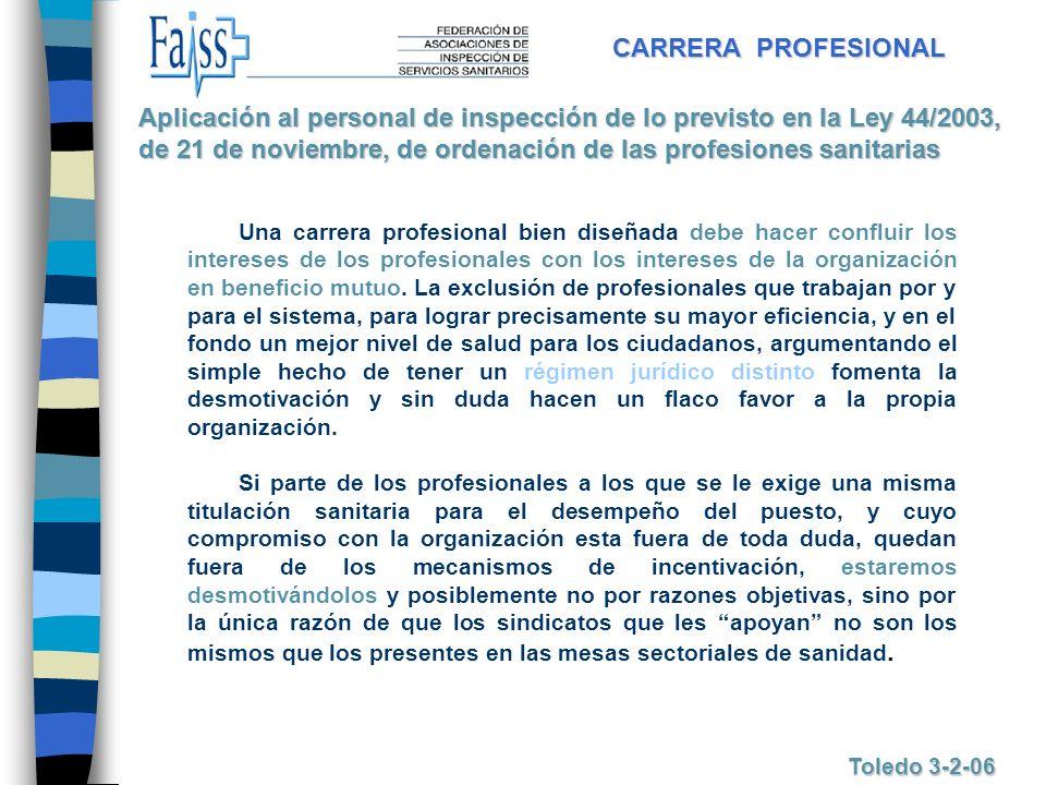 CARRERA PROFESIONAL Toledo 3-2-06 Una carrera profesional bien diseñada debe hacer confluir los intereses de los profesionales con los intereses de la