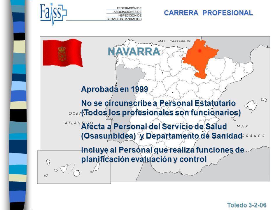CARRERA PROFESIONAL Toledo 3-2-06 NAVARRA Aprobada en 1999 No se circunscribe a Personal Estatutario (Todos los profesionales son funcionarios) Afecta