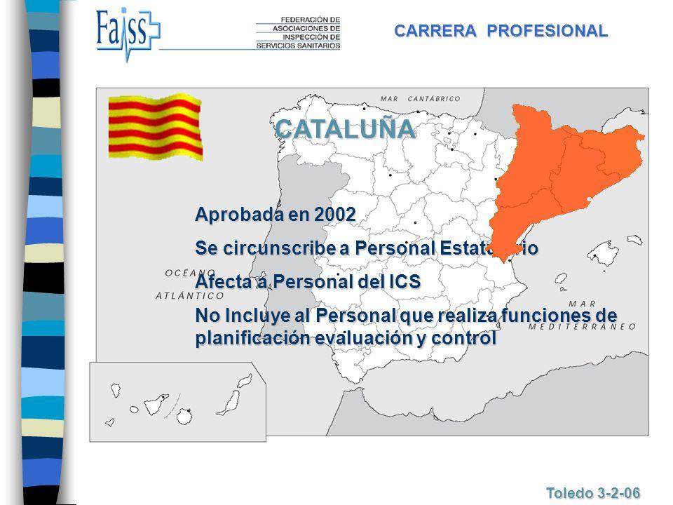 CARRERA PROFESIONAL Toledo 3-2-06 CATALUÑA Aprobada en 2002 Se circunscribe a Personal Estatutario Afecta a Personal del ICS No Incluye al Personal qu
