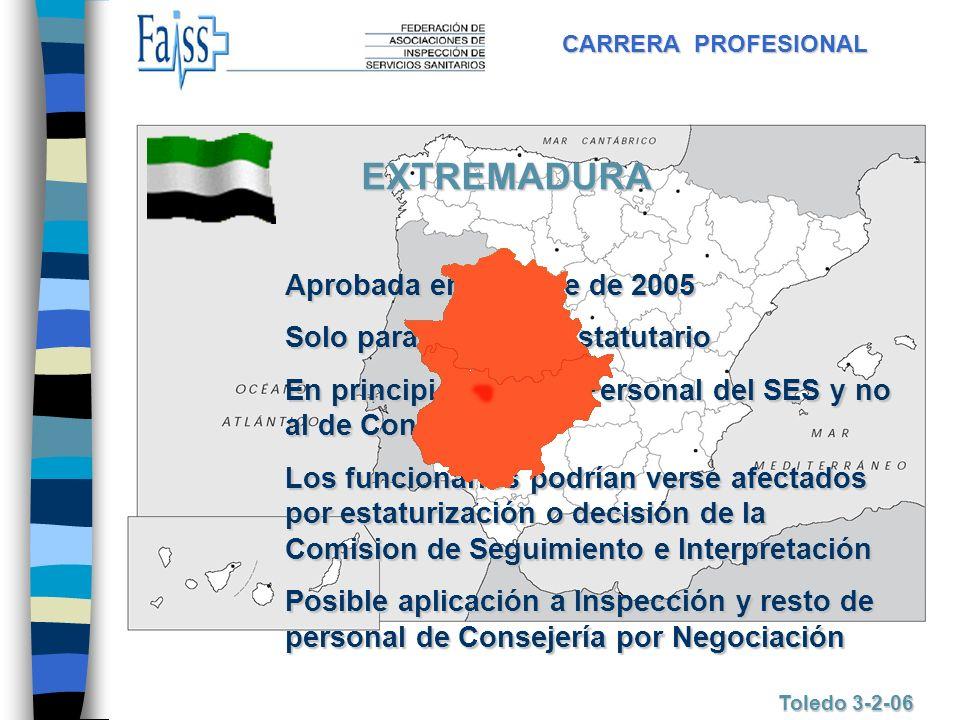 CARRERA PROFESIONAL Toledo 3-2-06 EXTREMADURA Aprobada en octubre de 2005 Solo para Personal Estatutario En principio afecta a Personal del SES y no a