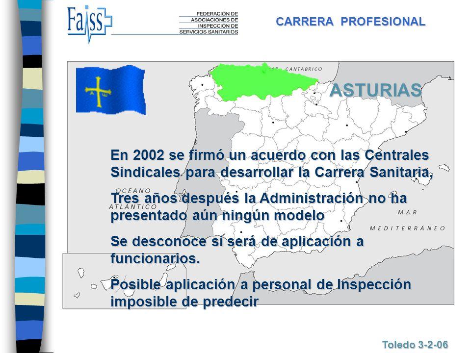 CARRERA PROFESIONAL Toledo 3-2-06 ASTURIAS En 2002 se firmó un acuerdo con las Centrales Sindicales para desarrollar la Carrera Sanitaria, Tres años d