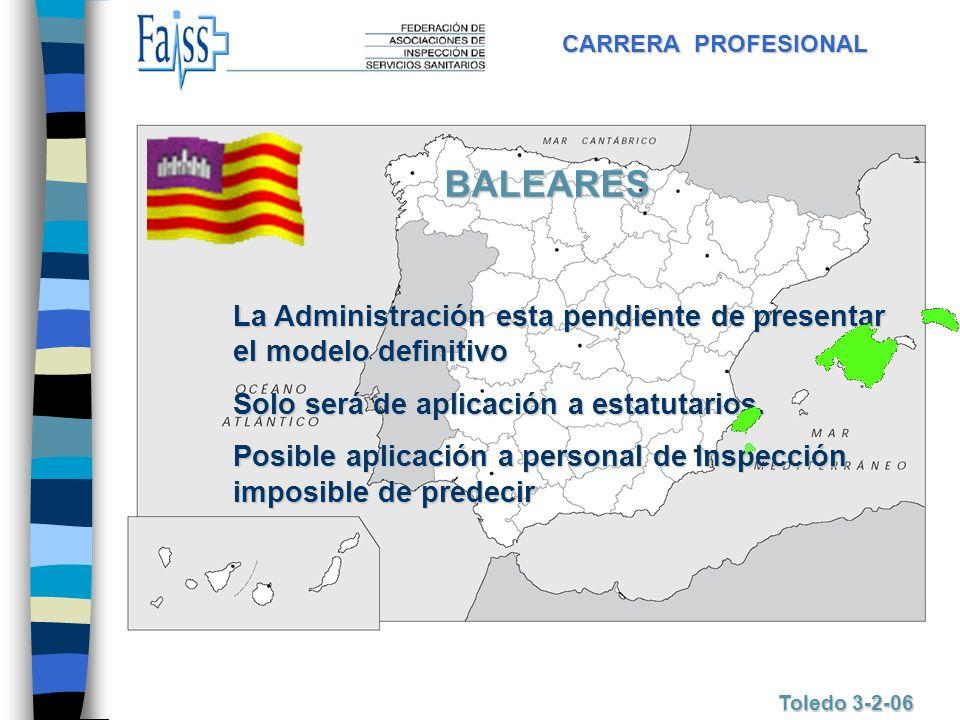 CARRERA PROFESIONAL Toledo 3-2-06 BALEARES La Administración esta pendiente de presentar el modelo definitivo Solo será de aplicación a estatutarios.