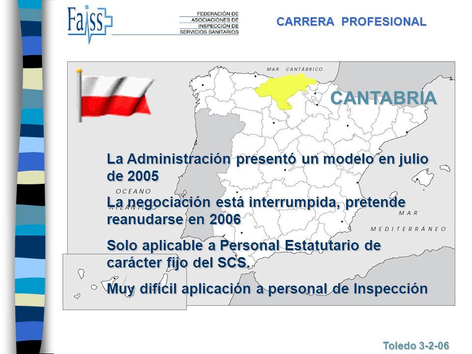 CARRERA PROFESIONAL Toledo 3-2-06 CANTABRIA La Administración presentó un modelo en julio de 2005 La negociación está interrumpida, pretende reanudars