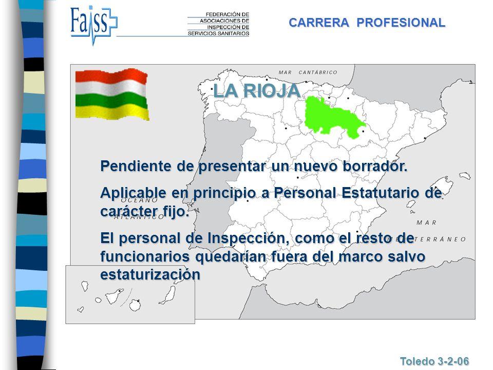 CARRERA PROFESIONAL Toledo 3-2-06 LA RIOJA Pendiente de presentar un nuevo borrador. Aplicable en principio a Personal Estatutario de carácter fijo. E