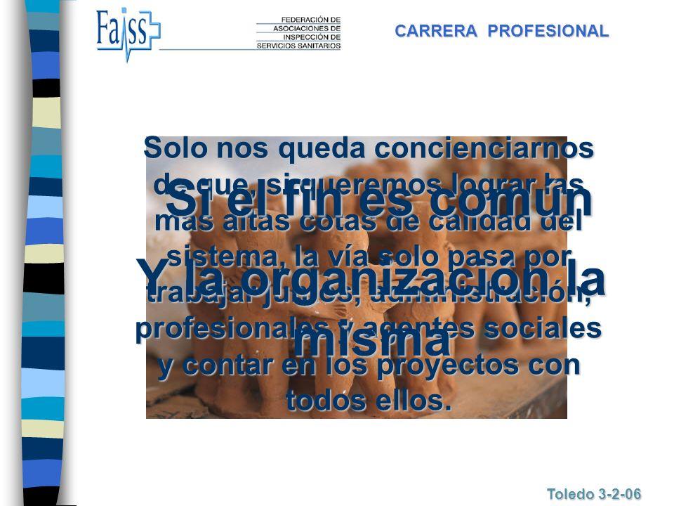 CARRERA PROFESIONAL Toledo 3-2-06 Solo nos queda concienciarnos de que, si queremos lograr las mas altas cotas de calidad del sistema, la vía solo pas