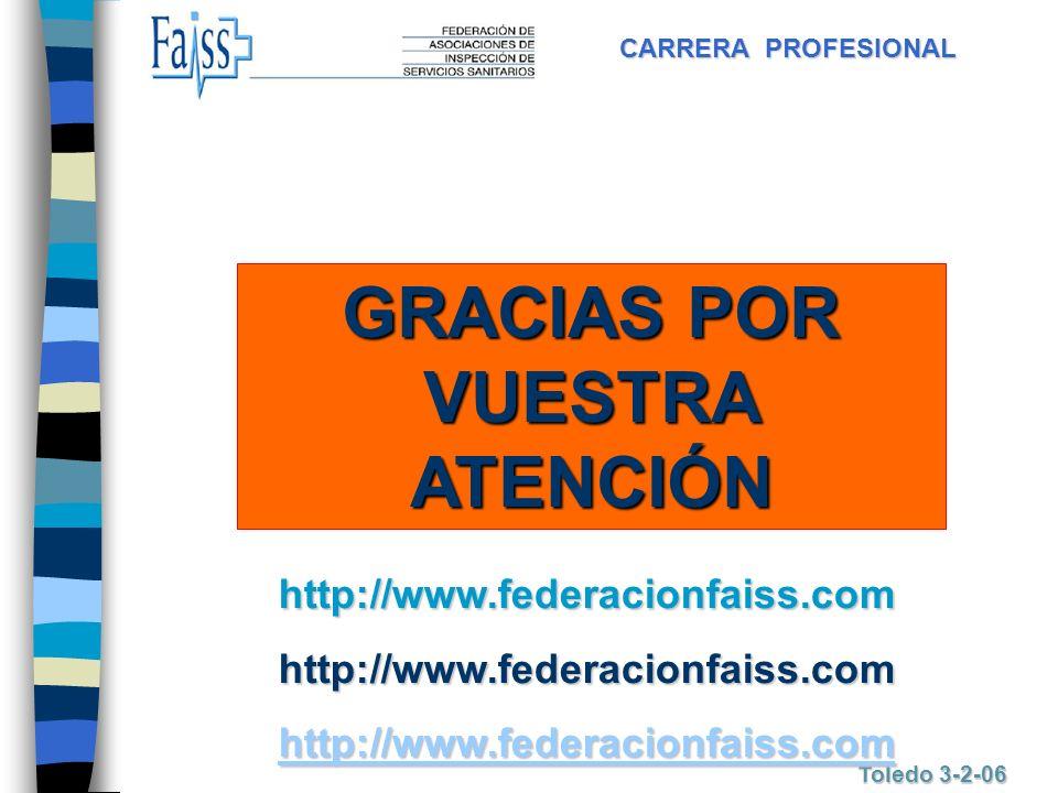 CARRERA PROFESIONAL Toledo 3-2-06 GRACIAS POR VUESTRA ATENCIÓN http://www.federacionfaiss.comhttp://www.federacionfaiss.com http://www.federacionfaiss