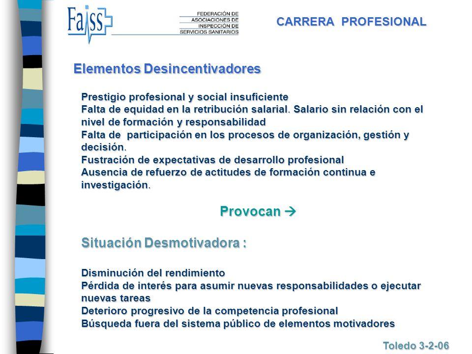CARRERA PROFESIONAL Toledo 3-2-06 Elementos Desincentivadores Prestigio profesional y social insuficiente Falta de equidad en la retribución salarial.