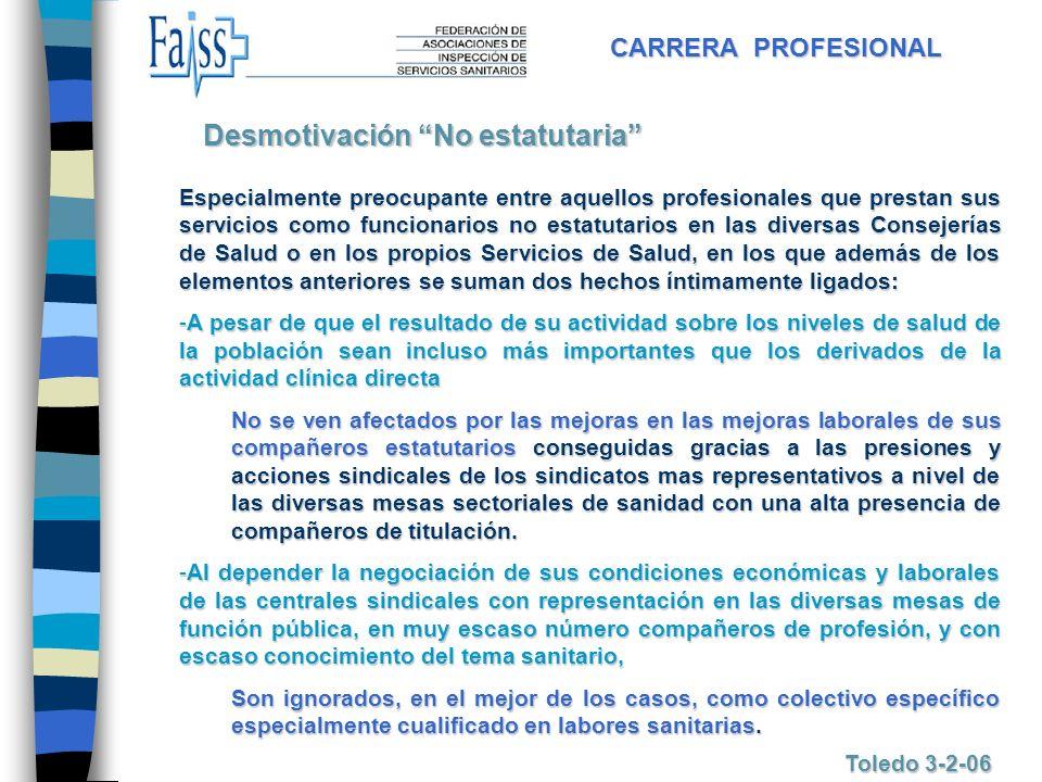 CARRERA PROFESIONAL Toledo 3-2-06 Especialmente preocupante entre aquellos profesionales que prestan sus servicios como funcionarios no estatutarios e