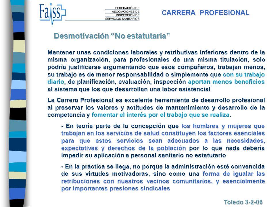 CARRERA PROFESIONAL Toledo 3-2-06 Mantener unas condiciones laborales y retributivas inferiores dentro de la misma organización, para profesionales de