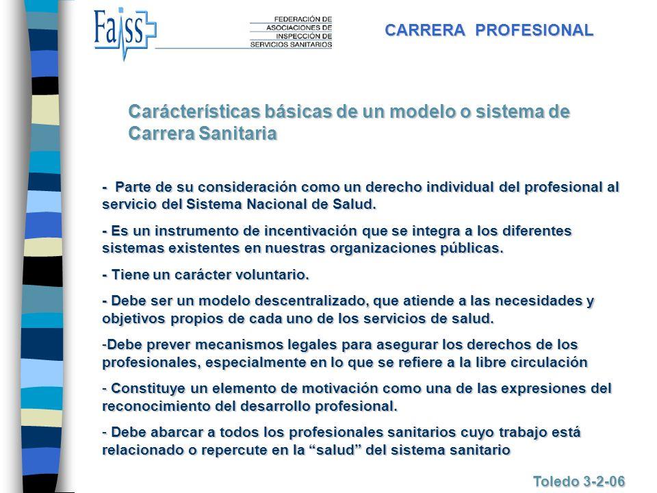 CARRERA PROFESIONAL Toledo 3-2-06 - Parte de su consideración como un derecho individual del profesional al servicio del Sistema Nacional de Salud. -
