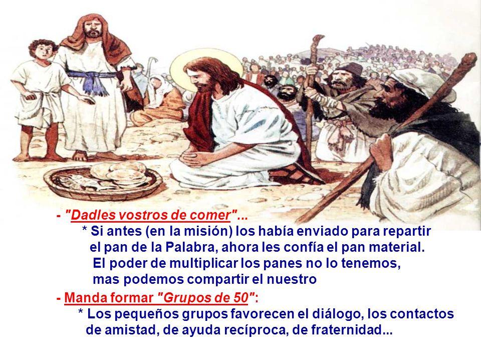 En el Evangelio, San Lucas habla de la Multiplicación de los Panes. (Lc 9,11b-17) Más que los hechos, Lucas quiere explicar lo que significa