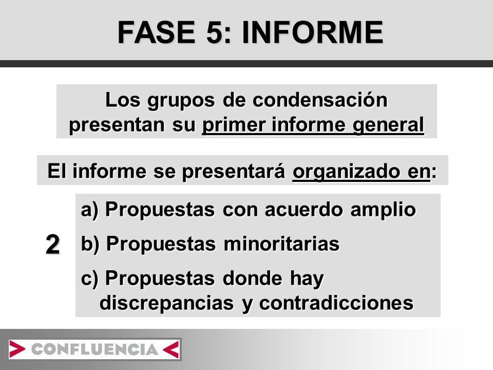 FASE 5: INFORME Los grupos de condensación presentan su primer informe general El informe se presentará organizado en: a) Propuestas con acuerdo amplio b) Propuestas minoritarias c) Propuestas donde hay discrepancias y contradicciones 2