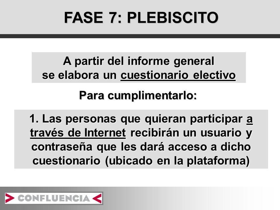 FASE 7: PLEBISCITO 1. Las personas que quieran participar a través de Internet recibirán un usuario y contraseña que les dará acceso a dicho cuestiona