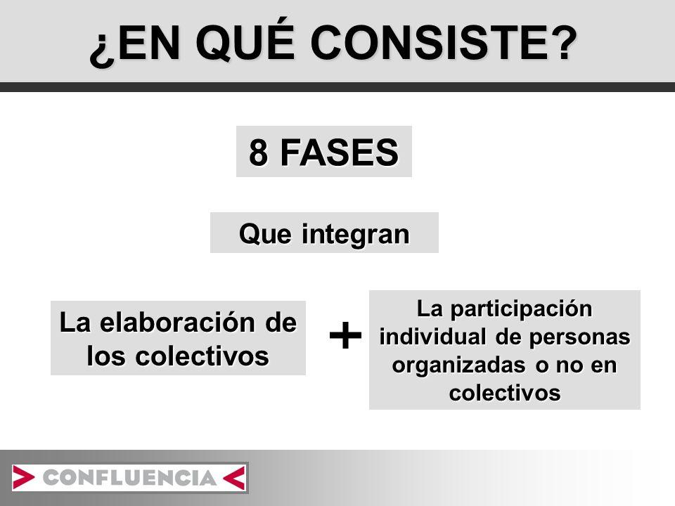 ¿EN QUÉ CONSISTE? 8 FASES Que integran La elaboración de los colectivos La participación individual de personas organizadas o no en colectivos
