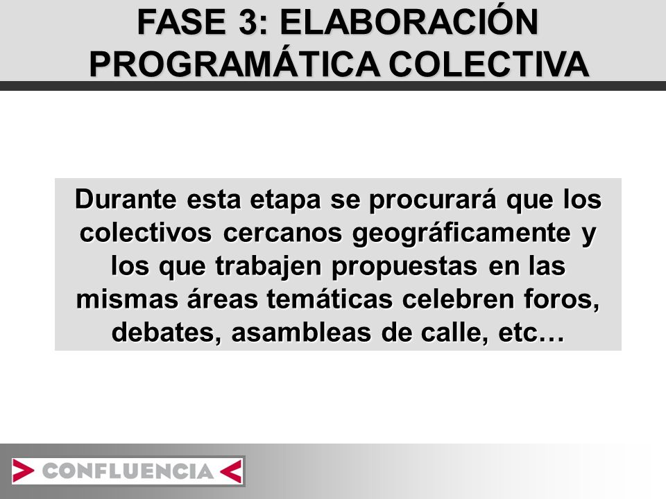 FASE 3: ELABORACIÓN PROGRAMÁTICA COLECTIVA Durante esta etapa se procurará que los colectivos cercanos geográficamente y los que trabajen propuestas en las mismas áreas temáticas celebren foros, debates, asambleas de calle, etc…
