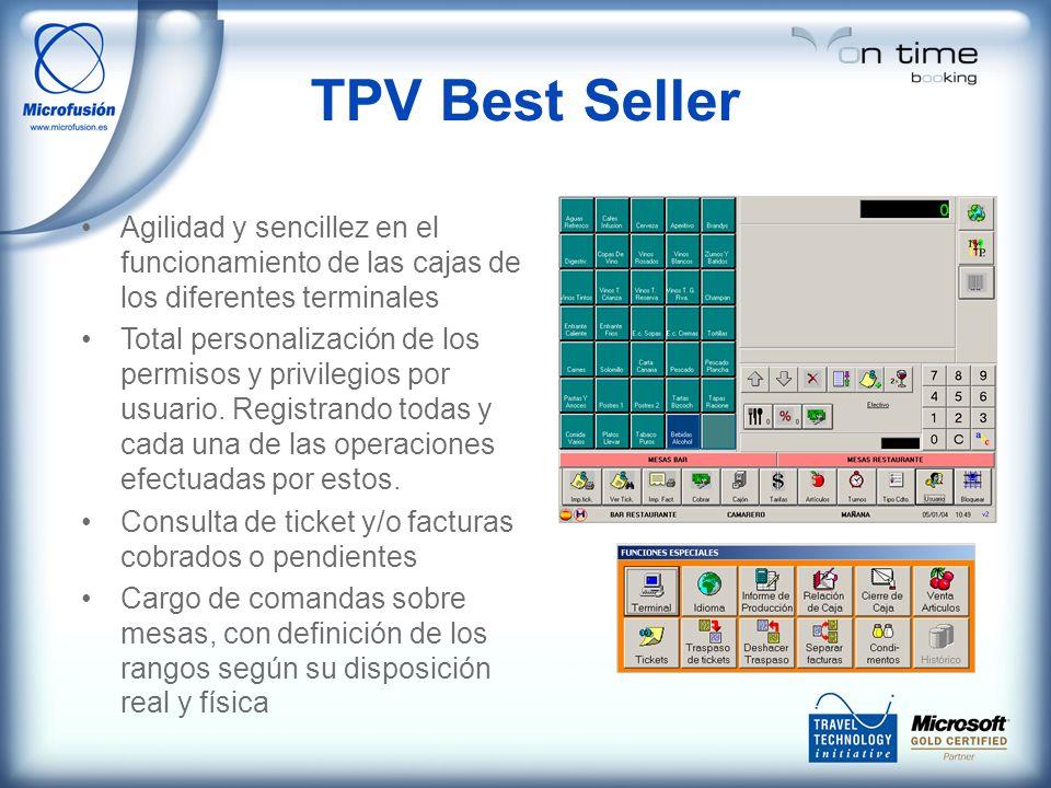 TPV Best Seller Agilidad y sencillez en el funcionamiento de las cajas de los diferentes terminales Total personalización de los permisos y privilegios por usuario.