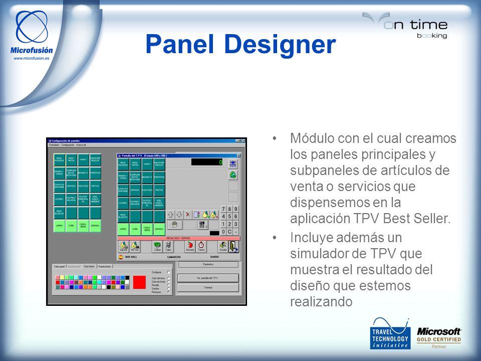Panel Designer Módulo con el cual creamos los paneles principales y subpaneles de artículos de venta o servicios que dispensemos en la aplicación TPV Best Seller.