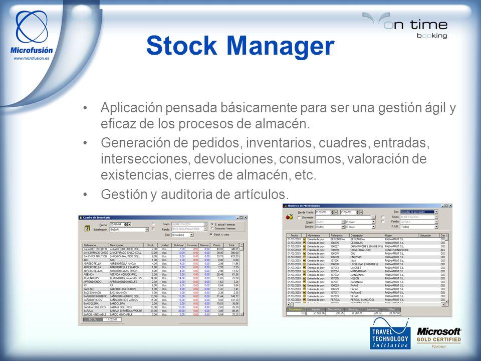 Stock Manager Aplicación pensada básicamente para ser una gestión ágil y eficaz de los procesos de almacén. Generación de pedidos, inventarios, cuadre