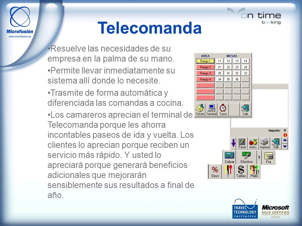 Telecomanda Resuelve las necesidades de su empresa en la palma de su mano. Permite llevar inmediatamente su sistema allí donde lo necesite. Trasmite d