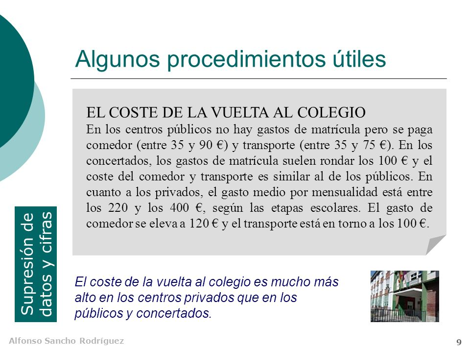Alfonso Sancho Rodríguez 9 Algunos procedimientos útiles Supresión de datos y cifras EL COSTE DE LA VUELTA AL COLEGIO En los centros públicos no hay gastos de matrícula pero se paga comedor (entre 35 y 90 ) y transporte (entre 35 y 75 ).