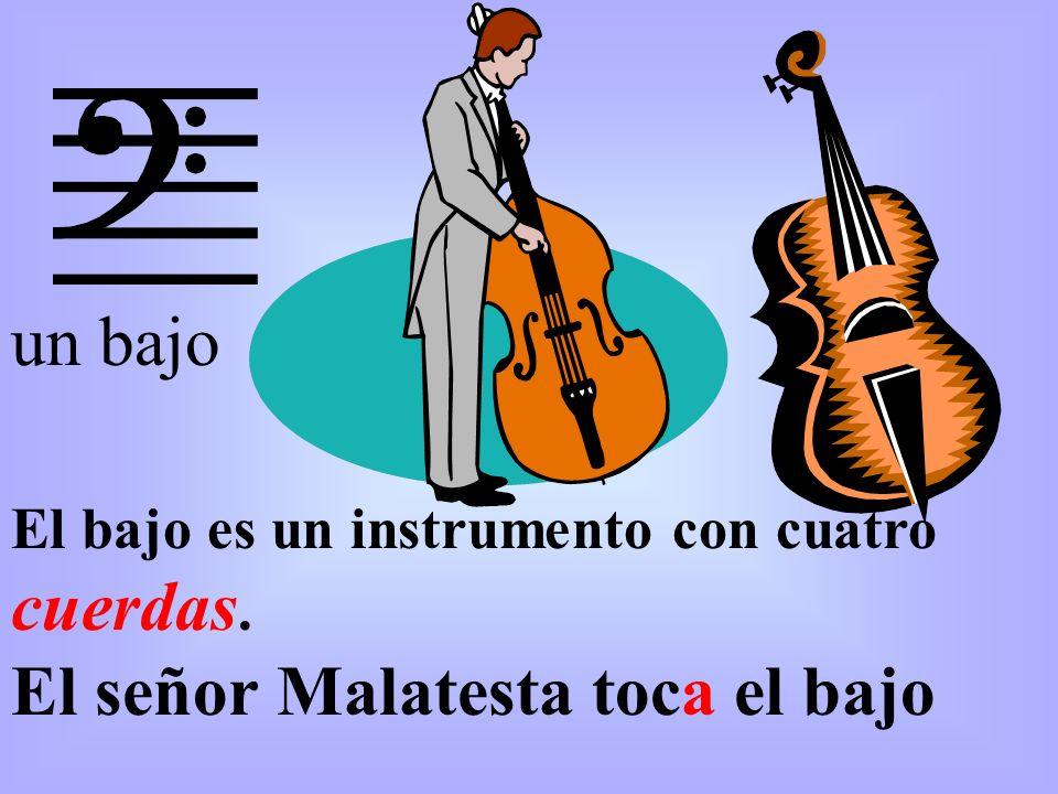 El bajo es un instrumento con cuatro cuerdas. El señor Malatesta toca el bajo un bajo