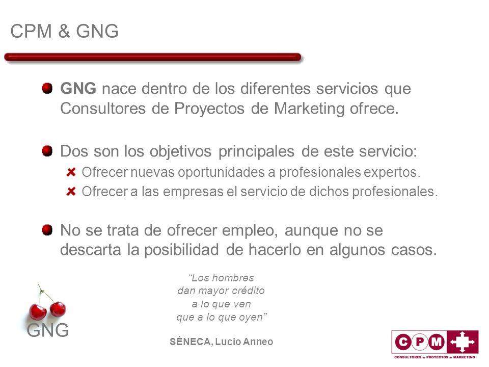 GNG CPM & GNG GNG nace dentro de los diferentes servicios que Consultores de Proyectos de Marketing ofrece. Dos son los objetivos principales de este