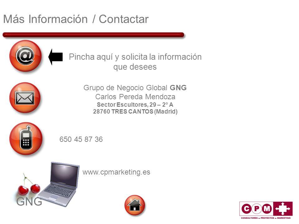 GNG Más Información / Contactar Pincha aquí y solicita la información que desees Grupo de Negocio Global GNG Carlos Pereda Mendoza Sector Escultores,