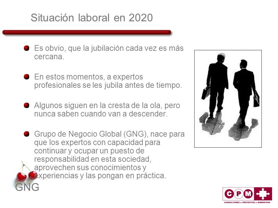 GNG Situación laboral en 2020 Es obvio, que la jubilación cada vez es más cercana. En estos momentos, a expertos profesionales se les jubila antes de