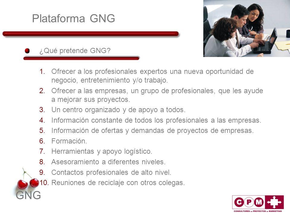 GNG Plataforma GNG ¿Qué pretende GNG? 1.Ofrecer a los profesionales expertos una nueva oportunidad de negocio, entretenimiento y/o trabajo. 2.Ofrecer