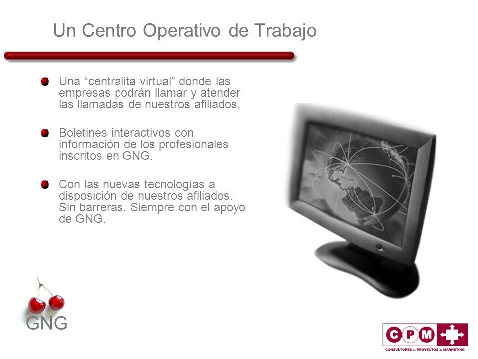 GNG Un Centro Operativo de Trabajo Una centralita virtual donde las empresas podrán llamar y atender las llamadas de nuestros afiliados. Boletines int