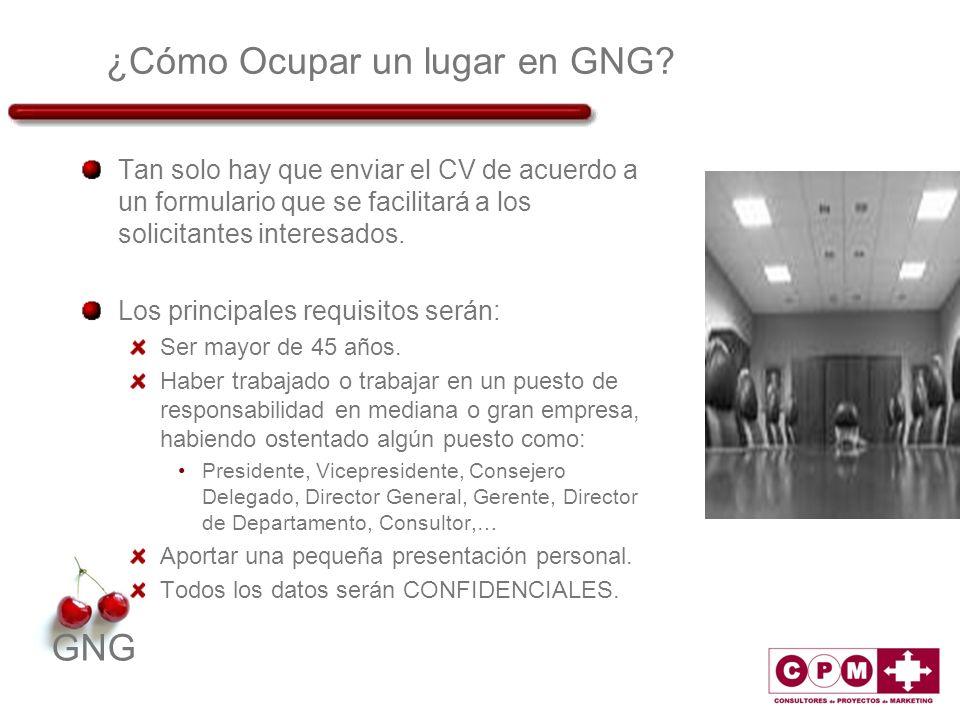 GNG ¿Cómo Ocupar un lugar en GNG? Tan solo hay que enviar el CV de acuerdo a un formulario que se facilitará a los solicitantes interesados. Los princ