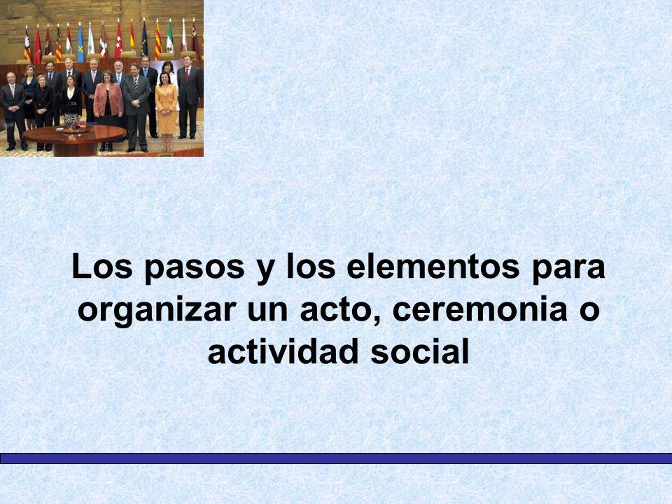 Los pasos y los elementos para organizar un acto, ceremonia o actividad social