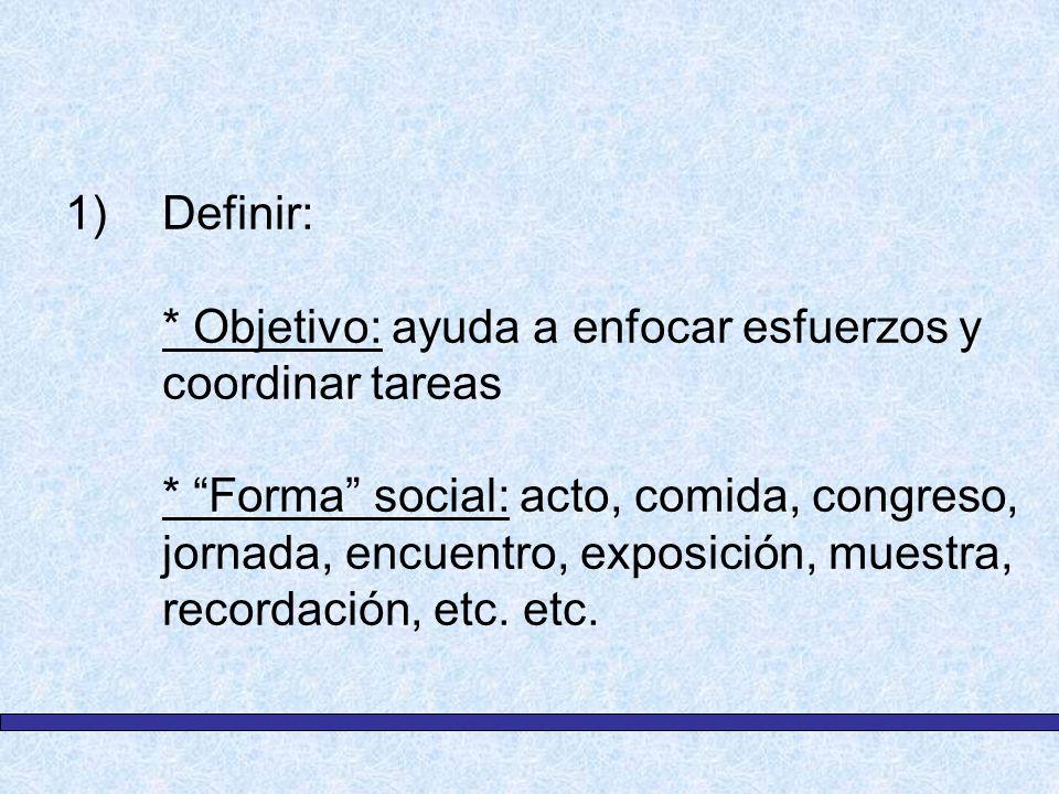 1)Definir: * Objetivo: ayuda a enfocar esfuerzos y coordinar tareas * Forma social: acto, comida, congreso, jornada, encuentro, exposición, muestra, r