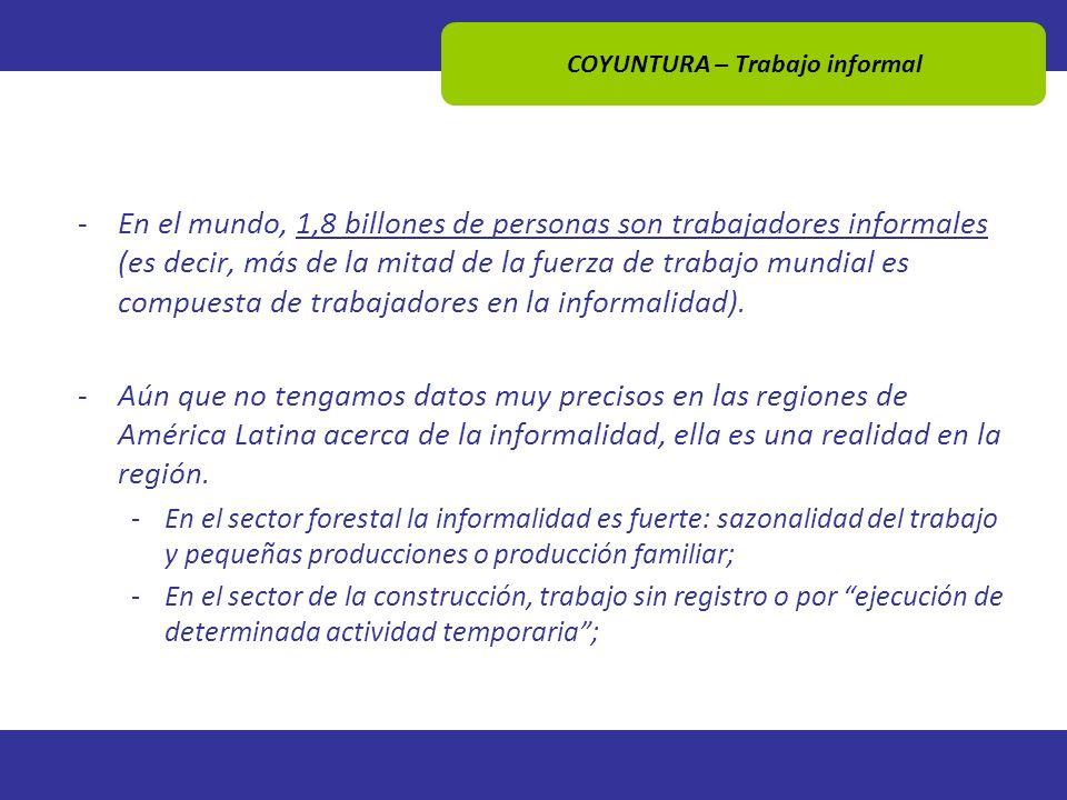 COYUNTURA – Trabajo informal -En el mundo, 1,8 billones de personas son trabajadores informales (es decir, más de la mitad de la fuerza de trabajo mun