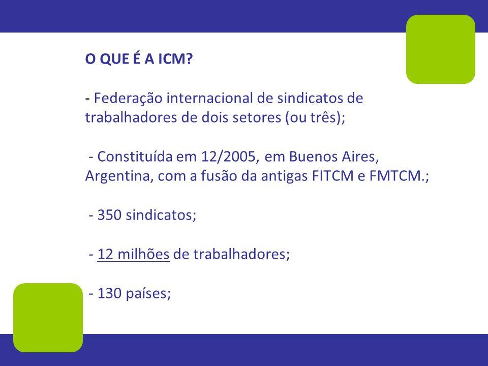O QUE É A ICM? - Federação internacional de sindicatos de trabalhadores de dois setores (ou três); - Constituída em 12/2005, em Buenos Aires, Argentin