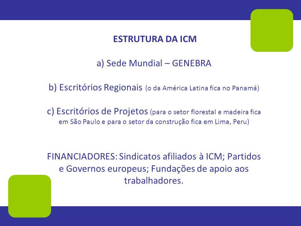 ESTRUTURA DA ICM a) Sede Mundial – GENEBRA b) Escritórios Regionais (o da América Latina fica no Panamá) c) Escritórios de Projetos (para o setor flor