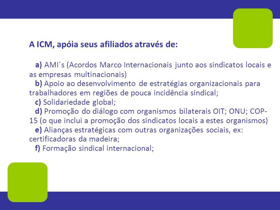 A ICM, apóia seus afiliados através de: a) AMI´s (Acordos Marco Internacionais junto aos sindicatos locais e as empresas multinacionais) b) Apoio ao d