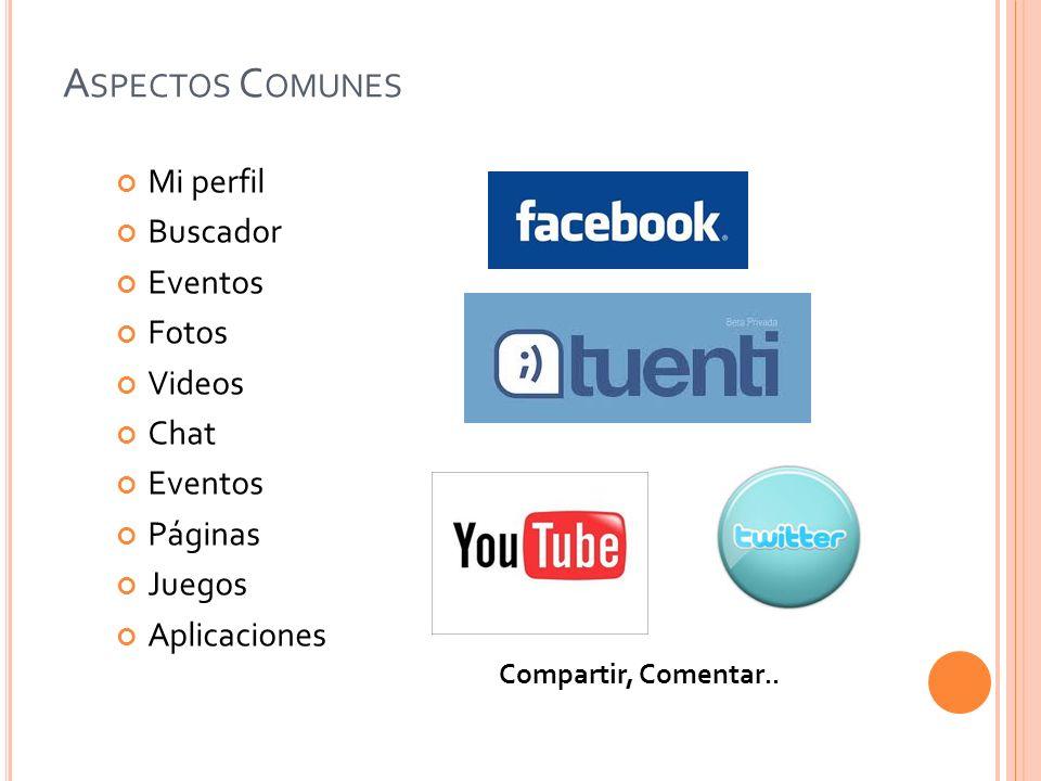 A SPECTOS C OMUNES Mi perfil Buscador Eventos Fotos Videos Chat Eventos Páginas Juegos Aplicaciones Compartir, Comentar..