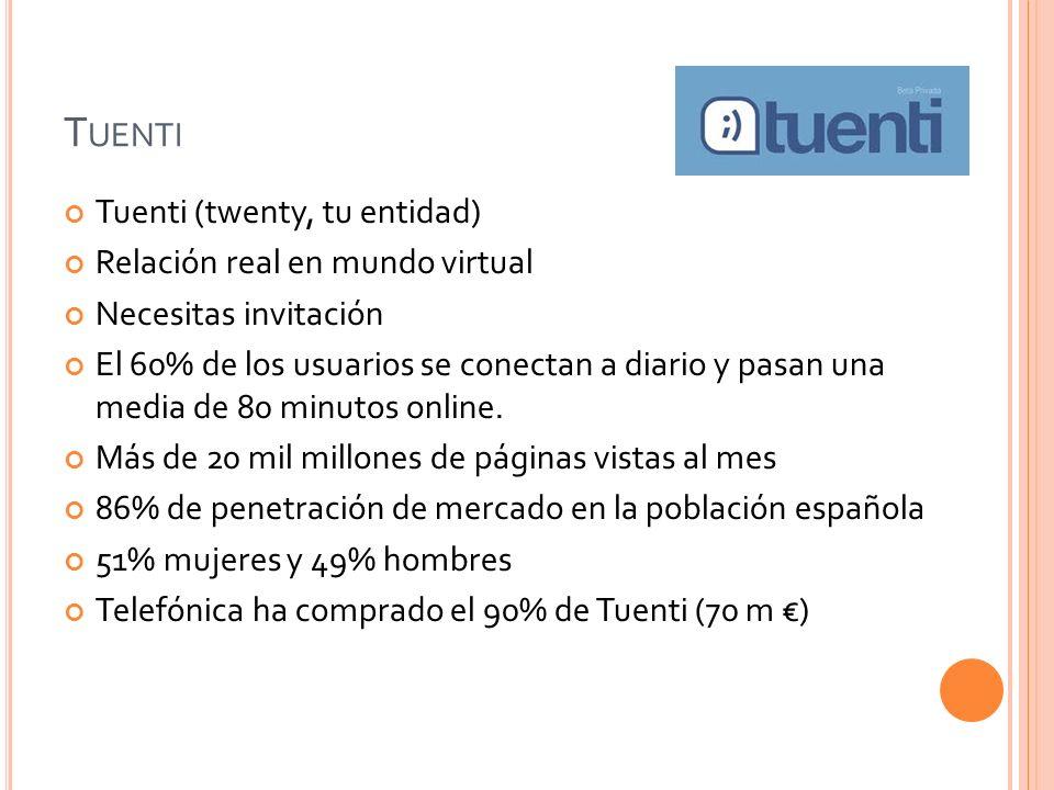 T UENTI Tuenti (twenty, tu entidad) Relación real en mundo virtual Necesitas invitación El 60% de los usuarios se conectan a diario y pasan una media de 80 minutos online.